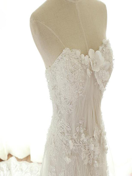 2019 New Arrival Sexy Strapless See Through Lace A line Wedding Bridal Dresses, Custom Made Wedding Dresses, Affordable Wedding Bridal Gowns,VPWD079