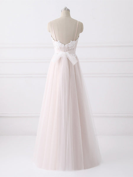 Pale Pink A-line Spaghetti Strap Floor-Length Tulle Lace Wedding Dresses,VPWD082