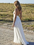 Romantic A-Line White Scoop Neckline Floor-Length Beach Wedding Dresses With Spaghetti Straps,VPWD087