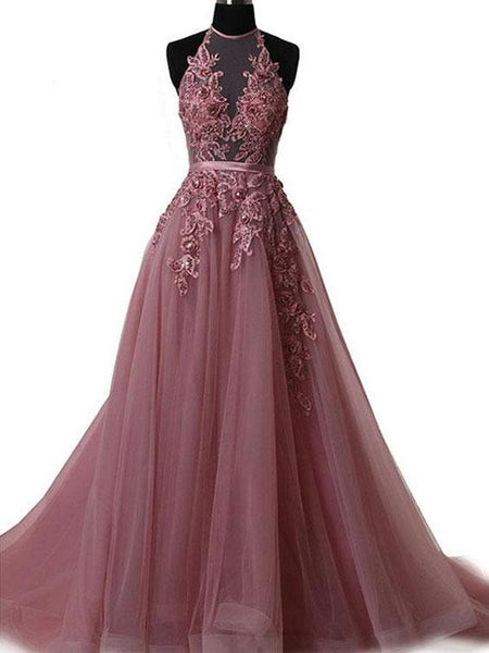 2019 New Arrival Dusty Pink Long Prom Dresses,Halter Prom Dresses With Appliques,Affordable Prom Dresses,VPPD087