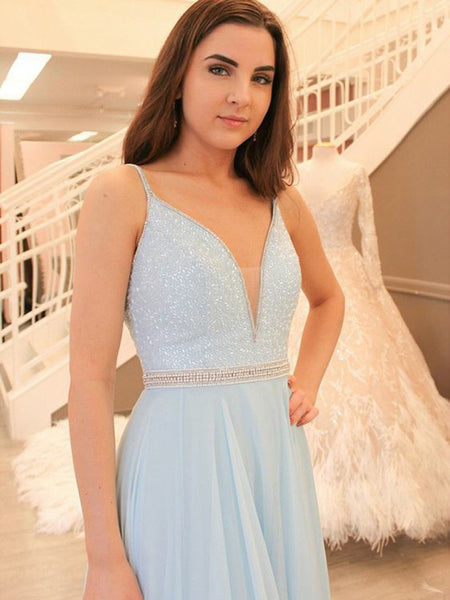 A-Line Deep V-Neck Spaghetti Straps Light Blue Chiffon Long Prom Dresses With Beading,VPPD889