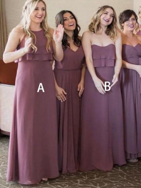 Elegant A-Line Dusty Purple Mismatched Chiffon Cheap Bridesmaid Dresses Online,VPWG008