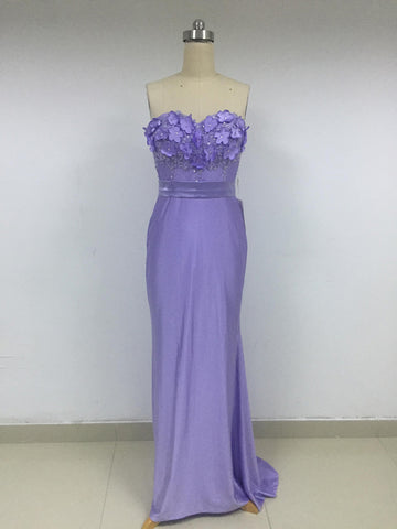 Discount Strapless Lavender Satin Long Prom Dresses,VPDD009