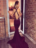 New Arrival Sexy Mermaid Long Prom Dresses,Satin Deep V-Neck Burgundy Prom Dresses With Sleeveless,Affordable Custom Made Prom Dresses,VPPD090