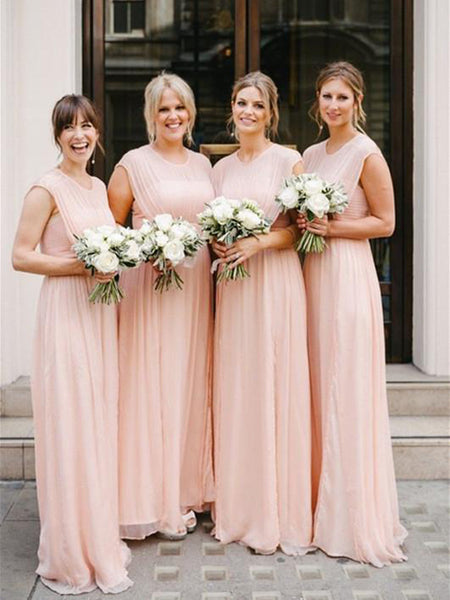 New Graceful Chiffon Jewel Neckline Cap Sleeves A-line Bridesmaid Dresses,VPWG091