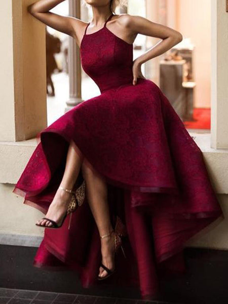 Vogue Halter Cute Dark Red High Low Lace Homecoming Dresses 2018,Affordable Homecoming Dresses Online,VPBD094