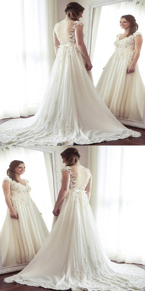 New Arrival Open Back Beach Wedding Dresses,Sexy See Through Cap Sleeve A-line Chiffon Beach Wedding Dresses Online,VPWD092