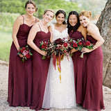 Cheap Simple Burgundy Spaghetti Straps Cheap Long Bridesmaid Dresses,VPWG097