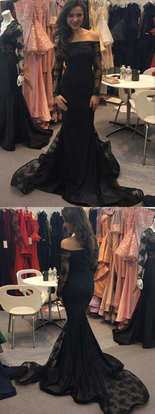 Mermaid Off Shoulder Black Appliqued Sweep Train Prom Dresses With Long Sleeves,VPPD987