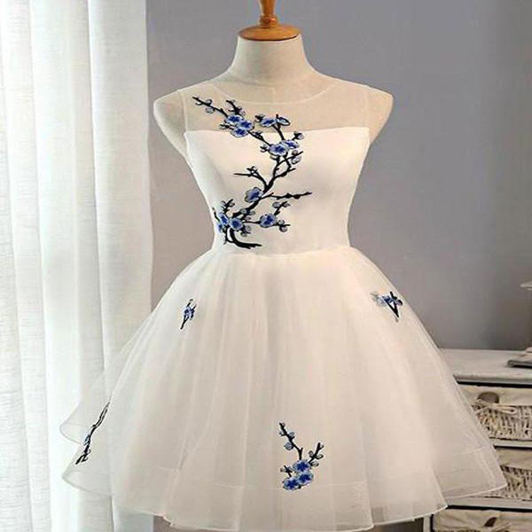 Beautiful White A-line Scoop-Neck With Lace up Mini Organza Appliqued Homecoming Dresses,VPBD009