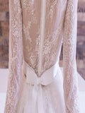 A-line Scoop Half Sleeve With Lace Tea-Length Wedding Dresses,Affordable Bridal Dresses,VPWD006