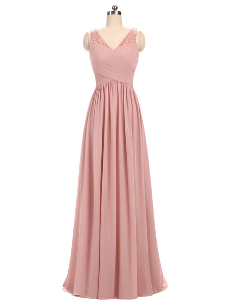 Cheap A-line V-Neck Floor-Length Chiffon Lace Pink Simple Bridesmaid Dresses,VPWG022