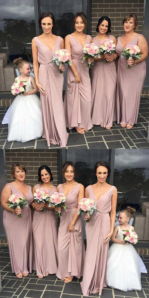 Beautiful Dusty Pink Chiffon Straps Long Cheap Bridesmaid Dresses Online,VPWG030