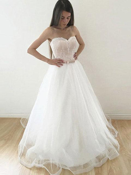 Excellent A-line Sweetheart Sweep Train Organza Lace Wedding Dresses,VPWD024