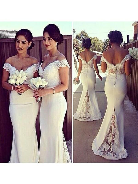 Beautiful Stylish Sexy Mermaid White Off Shoulder Lace Long Bridesmaid Dresses For Wedding Party,VPWG003