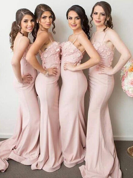 Fabulous Pink Spaghetti Straps With Appliques Bridesmaid Dresses,Affordable Bridesmaid Dresses,VPWG027