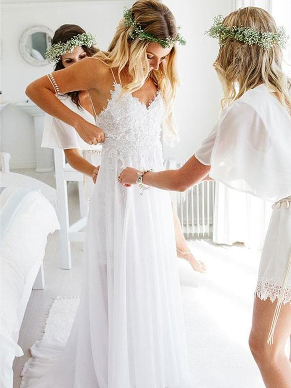 Sexy Backless Unique Casual Cheap Beach Wedding Dresses Vpwd213