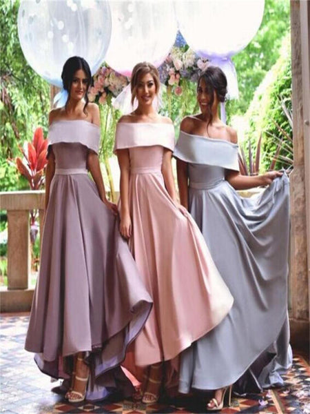 Exquisite Off Shoulder Prom Dresses,Simple Bridesmaid Dresses,New Arrival Custom Bridesmaid Dresses, Long Bridal Gowns,VPWG040