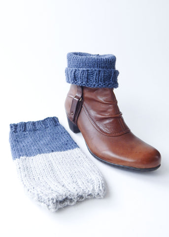 Duo tone hand-knit boot cuffs