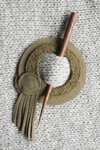 Leather Shawl Pin