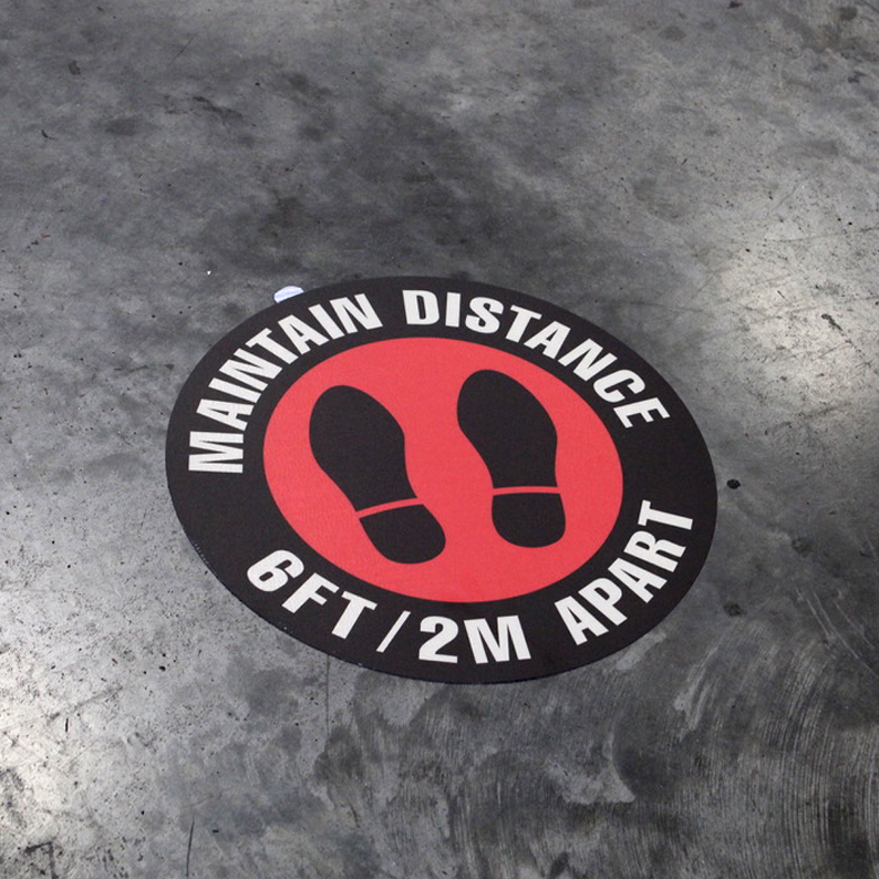 "16in Round ""Maintain Distance"" Floor Sign"