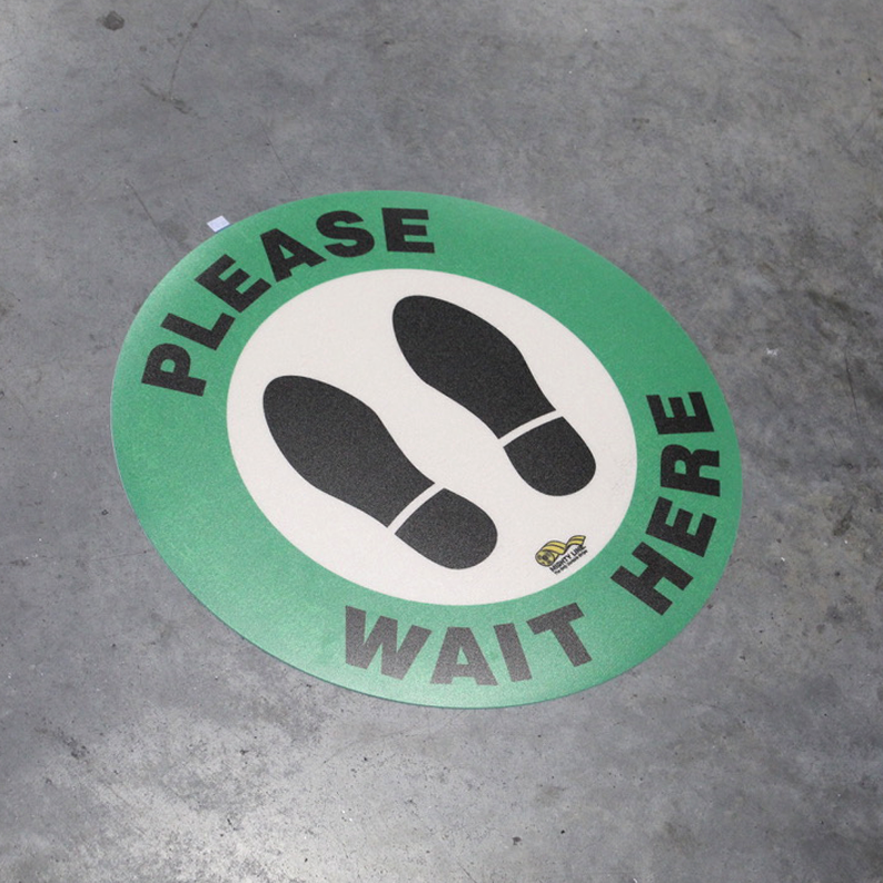 "16in Round ""Please Wait Here"" Safety Floor Sign - Green"