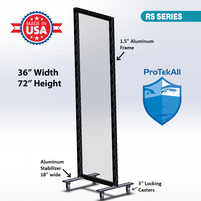 "ProTekAll 1/8"" Thick Acrylic Freestanding Rolling Shield - 72"" x 36"""