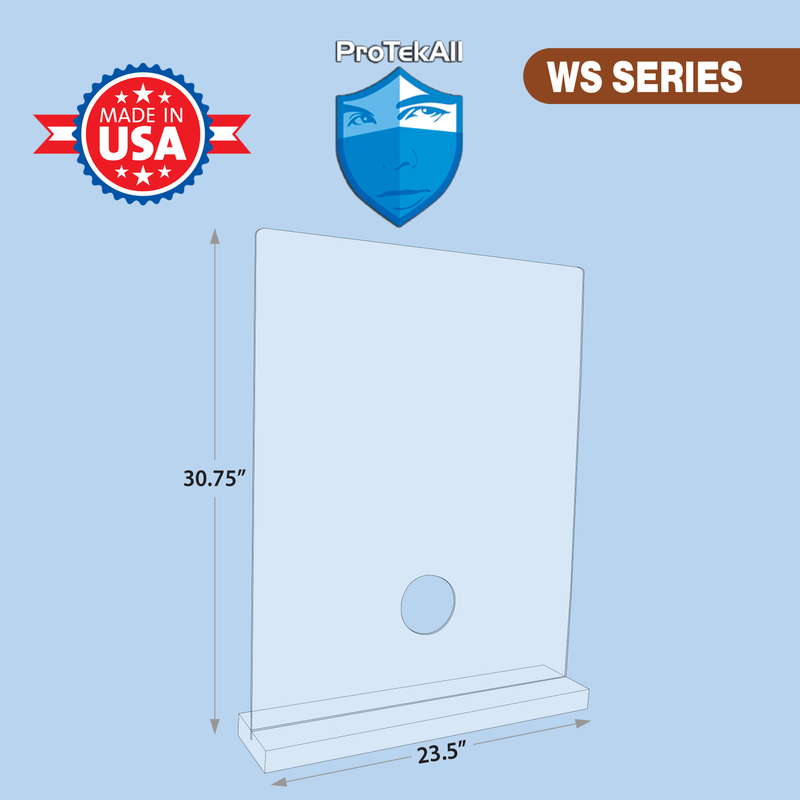 "ProTekAll 1/8"" Thick Acrylic Freestanding Shield with 2 sides"