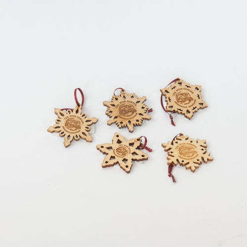 Wood Logo Snowflake Oranaments