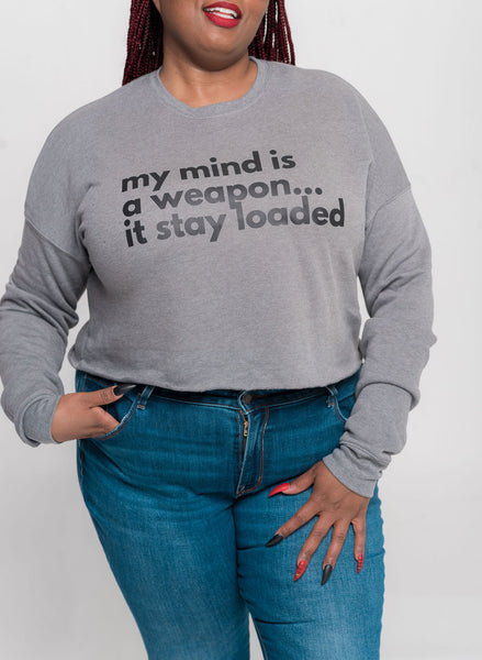 My Mind is a Weapon Crop Top Sweatshirt
