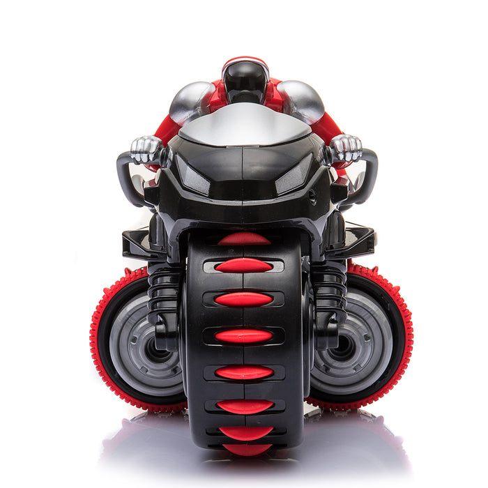 2.4Ghz 360° Rotation RC Motorcycle Goes on 2 Wheels Remote Control Motor Bike with Light for Kids - Red