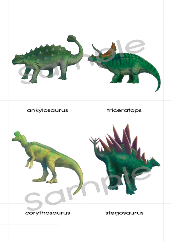 28 Dinosaurs, large printable 3-part cards