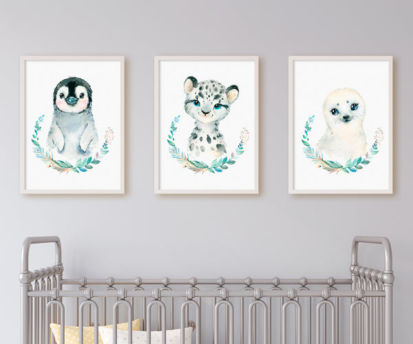 Set of 3 printable posters of snow animals
