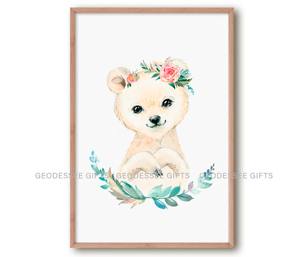 Set of 4 printable posters of snow animals