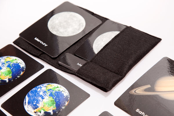 Solar system planets, large 3-part cards
