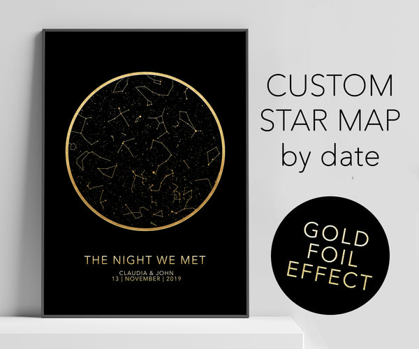 Personalized black gold foil effect star chart