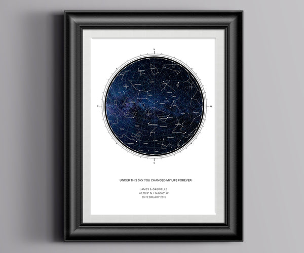 Constellation print as a personalized star chart