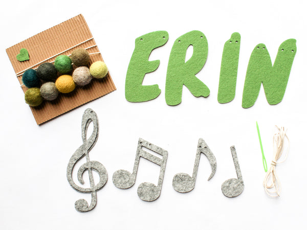 Personalized name banner with musical notes - fine motor skills activity