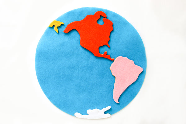 Hemisphere felt world map