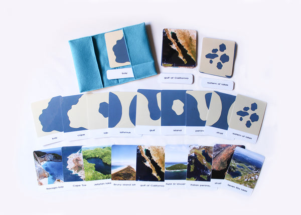 Land and water forms felt boards with photo 3-part cards