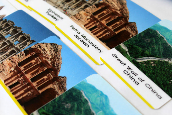 Montessori 3-part cards, 40 Landmarks of the World