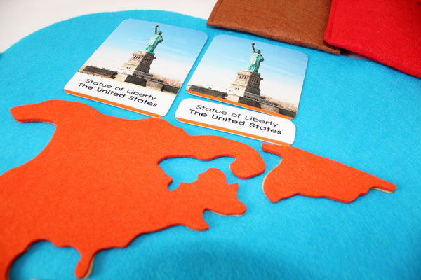 World map and 40 landmarks of the world, with Montessori 3 part cards