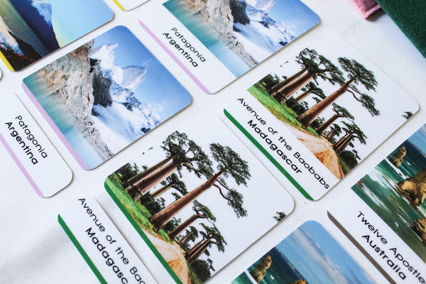 40 Natural Wonders of the World 3-part Montessori cards