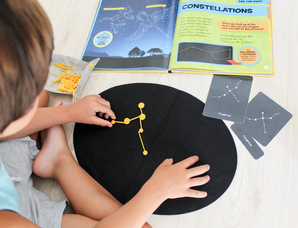 Constellations builder felt board with 3-part Montessori cards