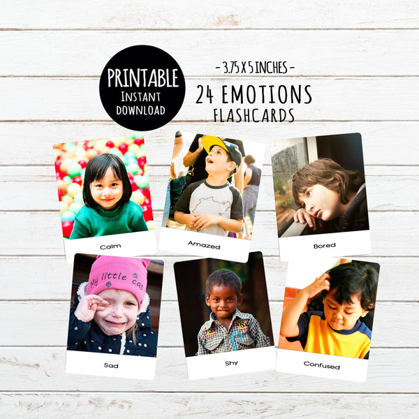 Digital Download, 24 Emotions, large flashcards