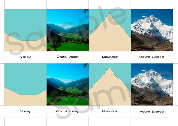 40 Printable land and water forms 3-part Montessori cards