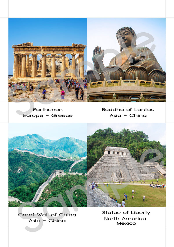 Digital Download, 17 Landmarks of the world, large 3-part cards