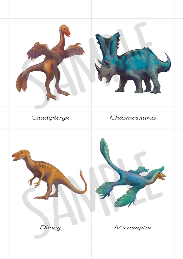 Digital Download, Safari Toobs, Feathered dinosaurs, 3 part cards