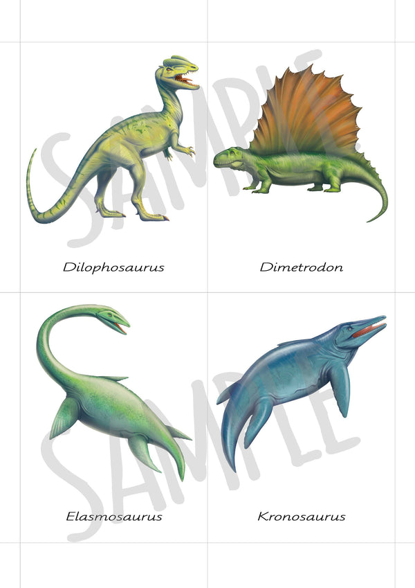 Digital Download, Safari Toobs, Carnivorous dinosaurs, large 3-part cards