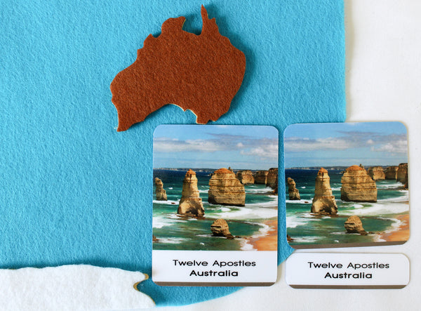 World map & 40 natural wonders of the world 3-part cards